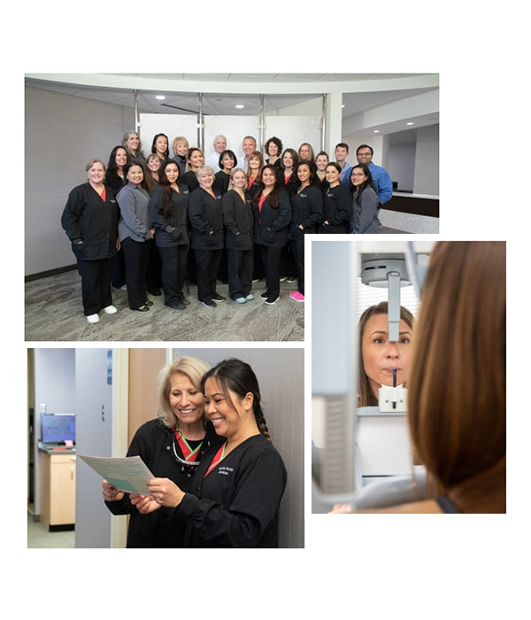 A collage of three photos of our Virginia dental team in action