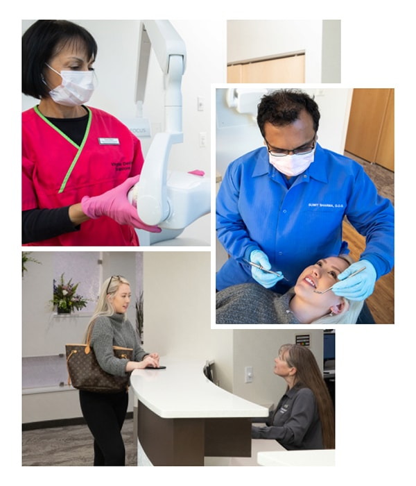 A Collage of three photos showing our Virginia Dental Solutions team working with our patients
